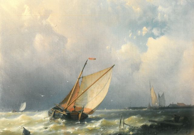 Abraham Hulk | A sailing vessel on a breezy day, oil on panel, 17.2 x 23.5 cm, signed l.r.
