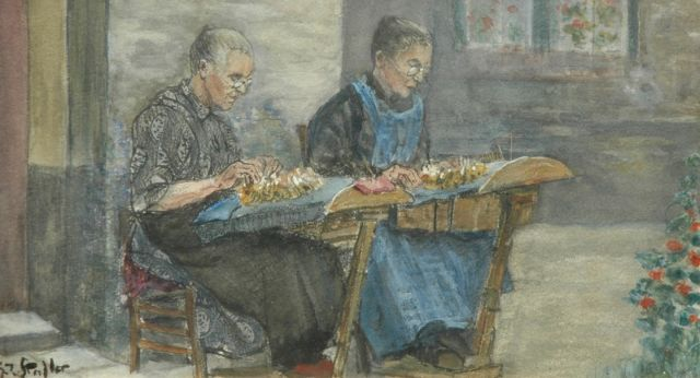 Gerard Johan Staller | Making lace, pencil, chalk and watercolour on paper, 12.1 x 22.1 cm, signed l.l.