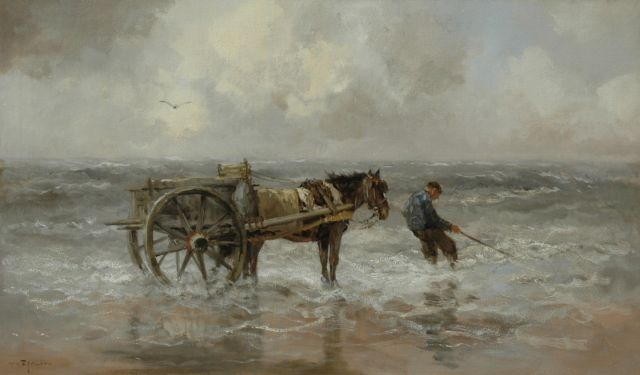 Willem George Frederik Jansen | Shell fisherman, oil on canvas, 60.0 x 104.0 cm, signed l.l.