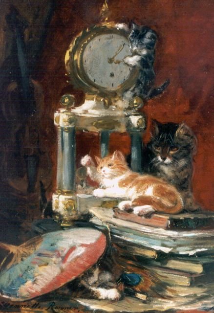 Henriette Ronner-Knip | Playtime, oil on canvas laid down on panel, 37.3 x 26.6 cm, signed l.l.
