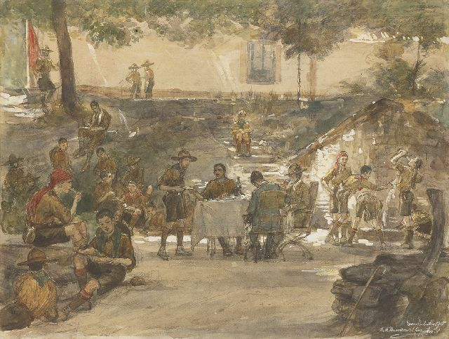 Bueno de Mesquita D.A.  | Boy scouts at the Escorial, Spain, black chalk and watercolour on paper 47.5 x 63.0 cm, signed l.r. and dated 'Escorial' Aug 1915
