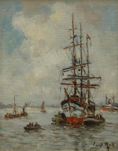 Evert Moll | Towboats and a moored three-master at the Nieuwe Maas, Rotterdam, oil on canvas laid down on panel, 14.0 x 11.0 cm, signed l.r.