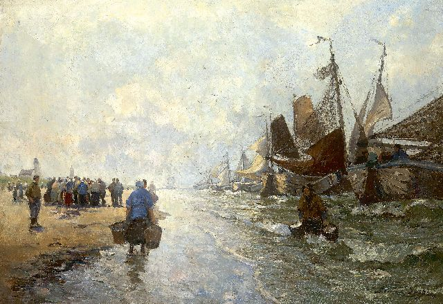 German Grobe | Return of the fishing fleet, oil on canvas, 62.0 x 87.5 cm, signed l.r. and painted circa 1916