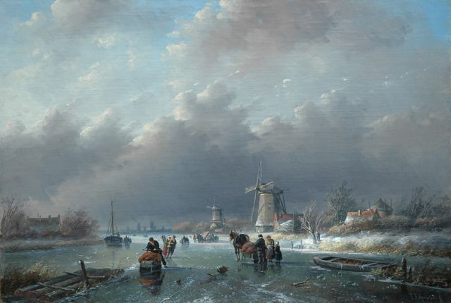 Jan Jacob Spohler | A winter landscape with numerous figures on the ice, oil on canvas, 38.4 x 56.5 cm, signed l.r.