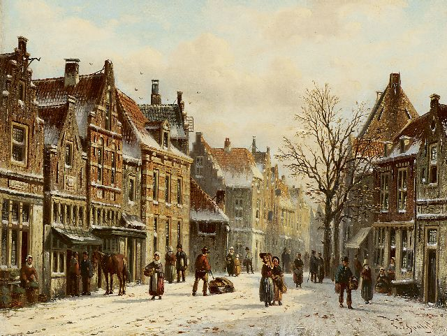 Johannes Franciscus Spohler | A city view in winter, oil on panel, 15.8 x 21.0 cm, signed l.r.