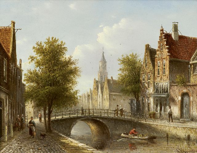 Johannes Franciscus Spohler | A city view in summer, oil on panel, 15.9 x 20.5 cm, signed l.r.