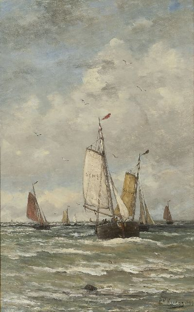 Hendrik Willem Mesdag | Fishing boats at sea, oil on canvas, 78.2 x 48.2 cm, signed l.r. and dated 1899