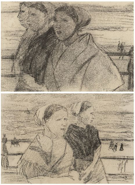 Isaac Israels | Scheveningen fisherwomen on the boulevard; reverse: Three fisherwomen, pastel on paper, 22.0 x 31.5 cm, signed l.r.