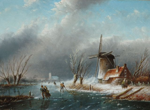 Jacob Jan Coenraad Spohler | Figures on a frozen river by a windmill, oil on panel, 17.9 x 24.2 cm, signed l.r.