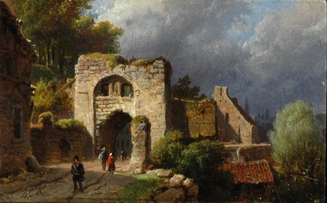 Barend Cornelis Koekkoek | Figures at the ruins of a town gate, oil on copper, 5.7 x 9.1 cm, signed l.l. with initials and painted ca. 1845-1849