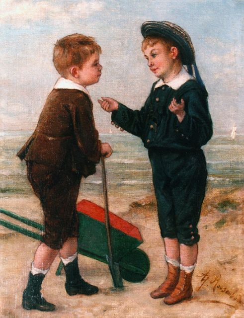 Albert Roosenboom | Two boys on the beach, oil on canvas, 24.5 x 19.2 cm, signed l.r.