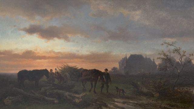 Wouterus Verschuur | Evening landscape and workhorses at sunset, oil on panel, 26.2 x 46.0 cm, signed l.r.