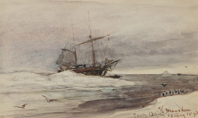 Louis Apol | On board of the Maasdam, watercolour on paper, 11.5 x 19.0 cm, signed l.r. and dated 23 Aug. 1893