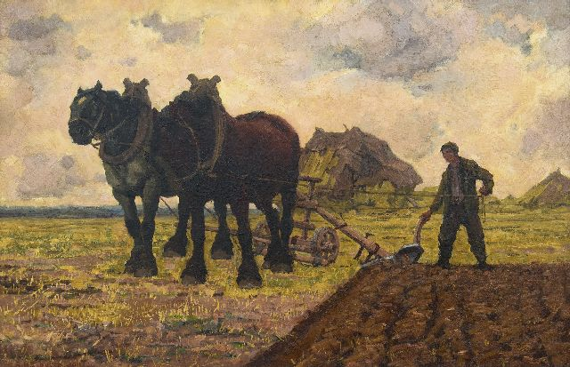 Adriaan Herman Gouwe | Ploughing the fields, oil on canvas, 65.8 x 100.6 cm, signed l.l. and dated 1911