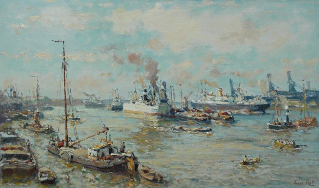 Evert Moll | Oceansteamer on the Nieuwe Maas near Rotterdam, oil on canvas, 60.2 x 100.3 cm, signed l.r.