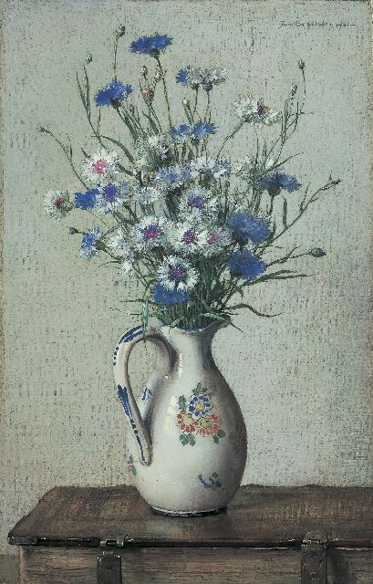 Jan Bogaerts | Cornflowers in a stoneware vase, oil on canvas, 55.0 x 35.4 cm, signed u.r. and dated 1921