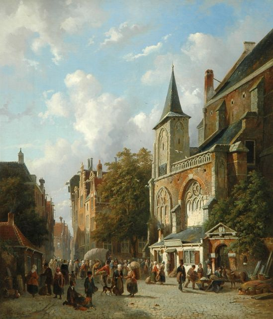 Adrianus Eversen | A Dutch town view, oil on canvas, 71.3 x 62.3 cm, signed l.l. and dated '56
