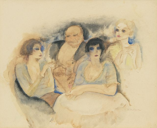 Raphaël de Buck | In the cocktailbar, watercolour on paper, 30.5 x 37.5 cm, signed l.r.