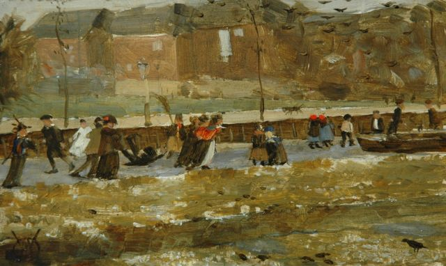 Gerrit Willem Dijsselhof | Having fun on the ice of Oosterpark, oil on panel, 9.7 x 16.0 cm, signed l.l. with monogram and executed ca. 1902-'03