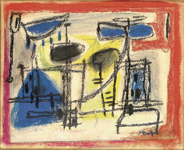 Jaap Nanninga | Composition with figures, coloured chalk on paper, 25.0 x 32.0 cm, signed l.r. and executed ca. 1958