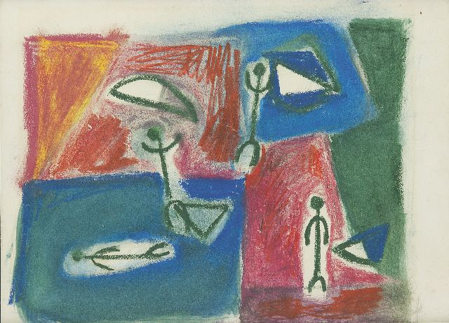 Jaap Nanninga | Composition with figures, coloured chalk on paper, 22.0 x 29.0 cm