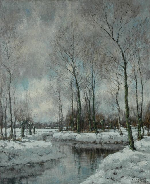 Arnold Marc Gorter | The Vordense Beek in winter, oil on canvas, 56.5 x 46.4 cm, signed l.r.