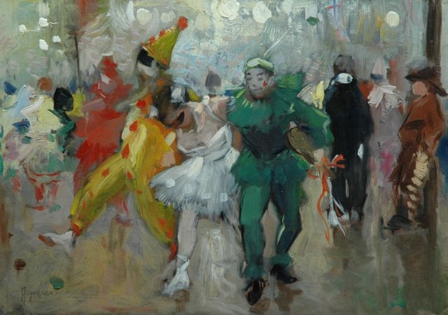 August van Voorden | Dancing at the Bal Masqué, oil on painter's board, 26.4 x 36.9 cm, signed l.l.
