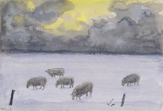 Harm Kamerlingh Onnes | A winter landschape with sheep, Terschelling, chalk and watercolour on paper, 12.0 x 17.5 cm, signed l.l. and reverse with monogram and dated recto and reverse '59