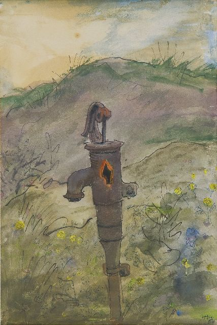 Harm Kamerlingh Onnes | An old waterpump in the dunes, Terschelling, pen, ink and watercolour on paper, 22.2 x 15.1 cm, signed l.r. with monogram and painted '60