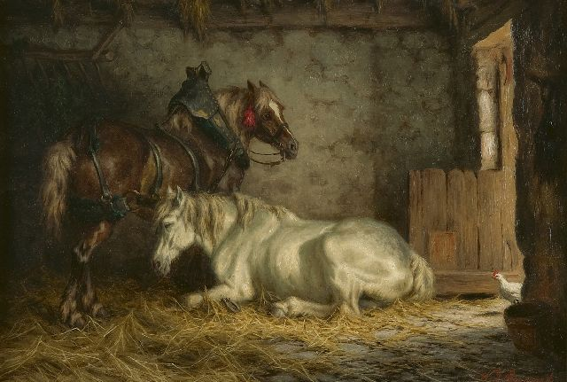 Willem Johan Boogaard | Horses, resting in a stable, oil on panel, 27.5 x 40.0 cm, signed l.r.