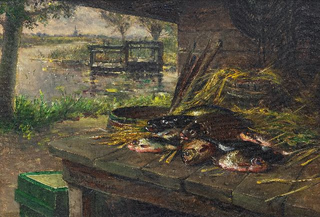 Roelofs jr. W.E.  | Old fishing mine at the water's edge, oil on canvas 31.5 x 46.0 cm, signed l.l. on the table's edge