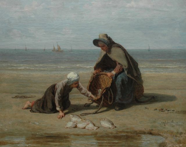 Jozef Israëls | Fisherman's wife and daughter on the beach with the daily catch, oil on canvas, 54.0 x 67.0 cm, signed l.r.
