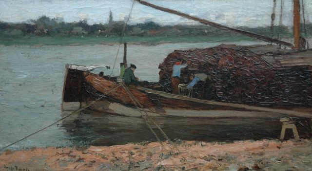 Cornelis Kuijpers | Moored peat barge, oil on canvas, 30.1 x 52.6 cm, signed l.l.