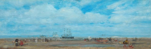 Rolf Dieter Meyer-Wiegand | North Sea coast, oil on panel, 8.2 x 24.0 cm, signed l.r. with initials and reverse with atelier stamp
