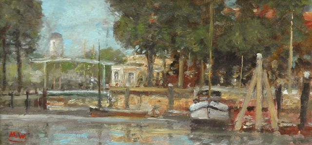 Rolf Dieter Meyer-Wiegand | Dutch canal, oil on painter's board, 10.0 x 20.0 cm, signed l.l. with monogram