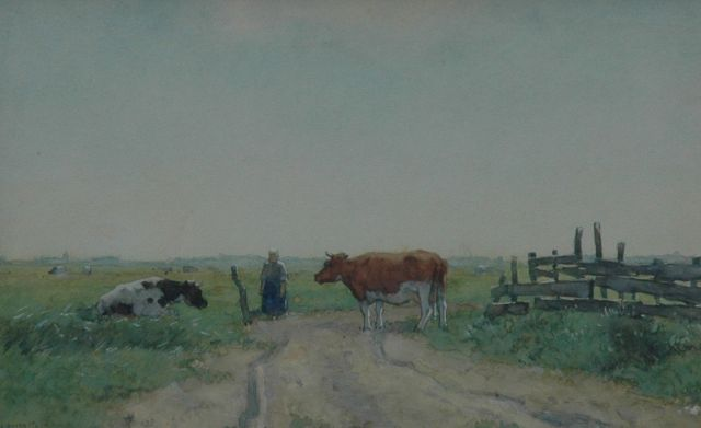 Aris Knikker | Farmer's wife and cows in the fields, watercolour on paper, 21.3 x 33.3 cm, signed l.l.