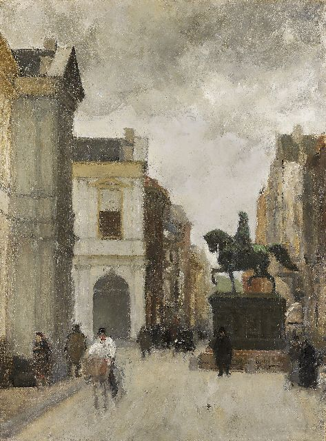 Floris Arntzenius | Noordeinde, The Hague, with statue of Prince Willem I, oil on canvas, 60.0 x 44.9 cm, gesigneerd op spieraam