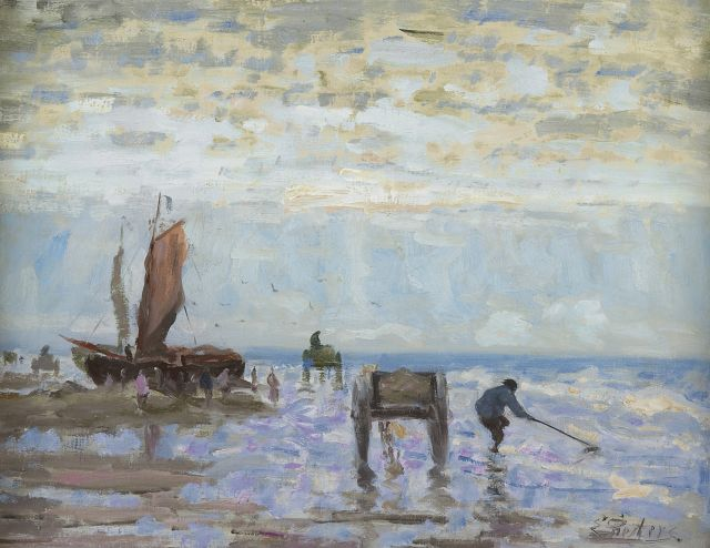 Evert Pieters | Shell fishers, Katwijk, oil on canvas, 37.4 x 49.5 cm, signed l.r.