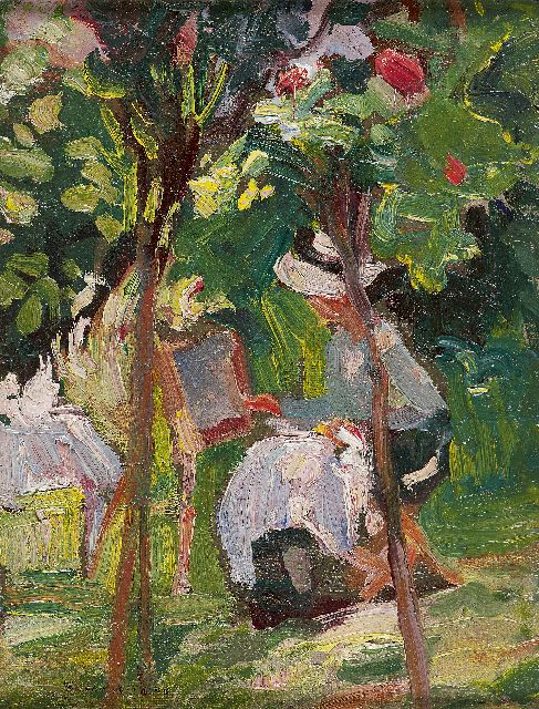 Susan Watkins | Painting in the garden, oil on canvas laid down on board, 23.1 x 17.9 cm, signed l.l.