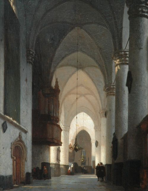 Jan Jacob Schenkel | A church interior with figures, oil on panel, 51.5 x 40.5 cm