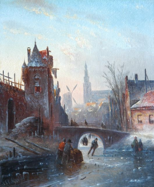 Jacob Jan Coenraad Spohler | A town view with skaters, oil on panel, 19.0 x 15.7 cm, signed l.l. with initials