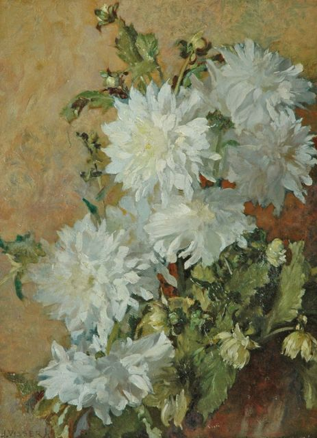 Jan Visser jr. | Dahlias, oil on painter's board laid down on panel, 50.1 x 37.8 cm, signed l.l.