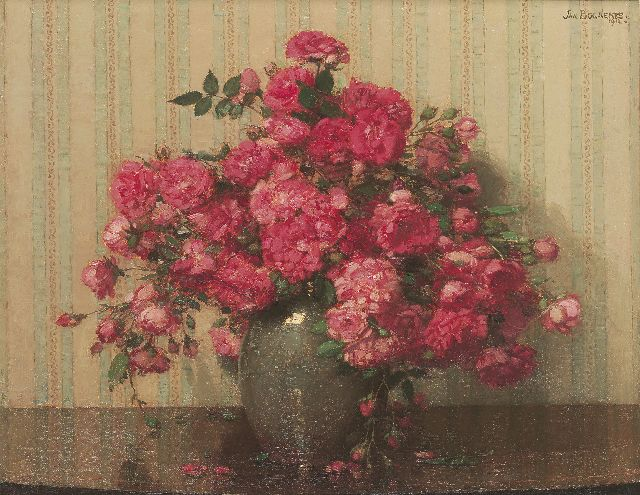 Jan Bogaerts | Pink roses in a vase, oil on canvas, 40.5 x 50.4 cm, signed u.r. and dated 1912