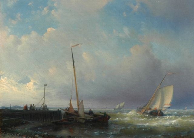 Abraham Hulk | Dutch fishing boats near a pier, oil on panel, 18.1 x 24.6 cm, signed l.r.