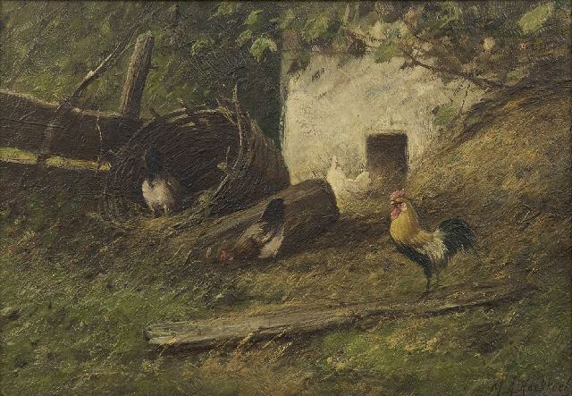Marinus Adrianus Koekkoek II | Rooster and three chickens in the farmyard, oil on canvas, 24.4 x 34.5 cm, signed l.r.