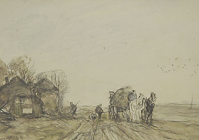 Louis Apol | Loading the hay cart, pencil and watercolour on paper, 16.5 x 23.3 cm, signed l.l.