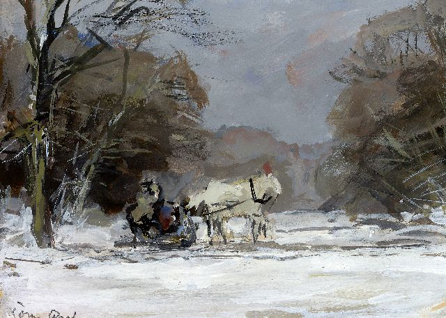 Louis Apol | A horse drawn sledge in a winter landscape, gouache on paper, 12.0 x 17.0 cm, signed l.l.