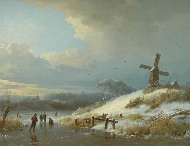 Barend Cornelis Koekkoek | Skaters on ice, oil on panel, 23.1 x 30.3 cm, signed l.r. and painted 1834