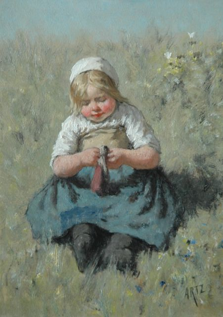 David Artz | A girl playing with a doll, oil on panel, 22.6 x 16.3 cm, signed l.r.