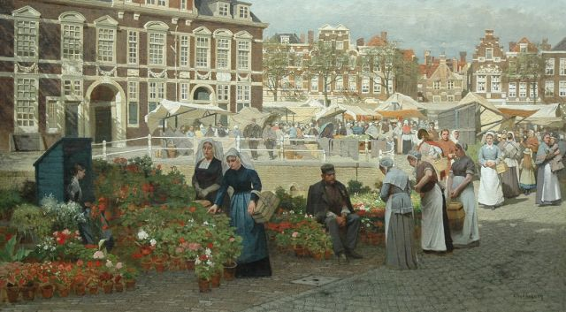 Karel Klinkenberg | A view of the Grote Markt in The Hague with two women in 'Zuid-Holland' costume, oil on canvas, 82.1 x 144.0 cm, signed l.r.